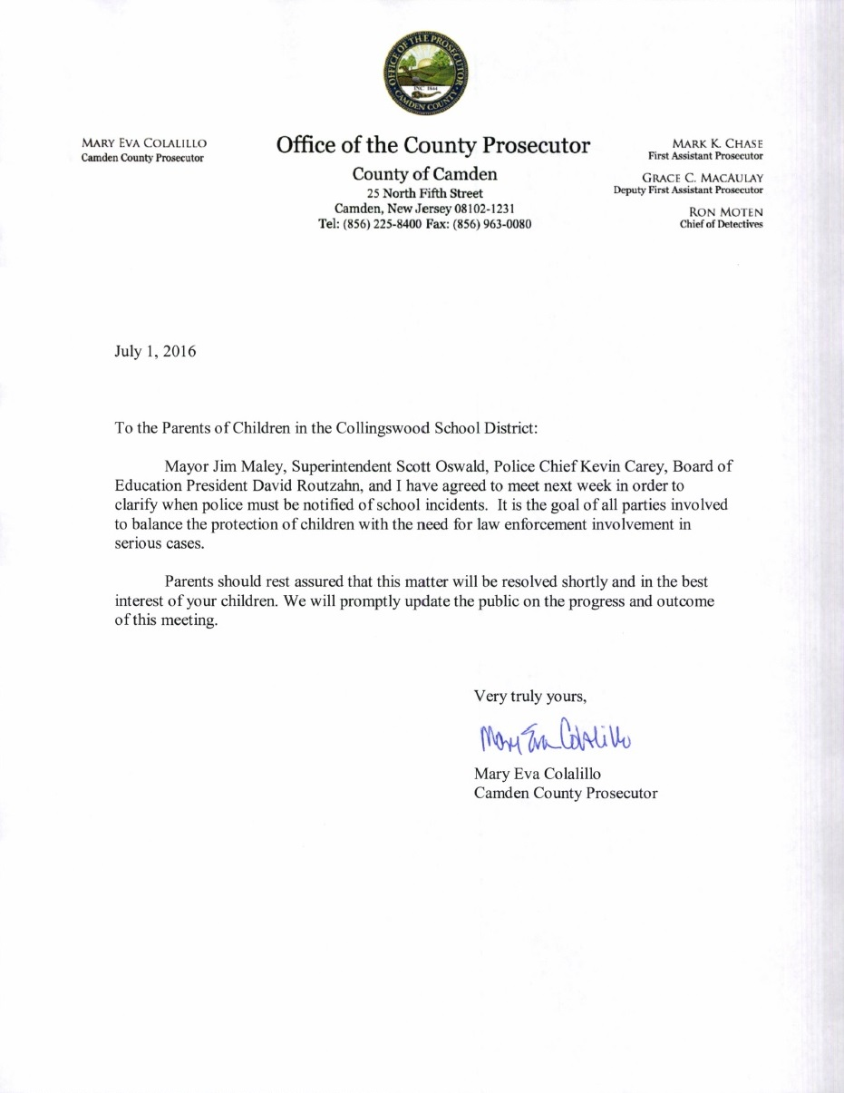 Collingswood Letter